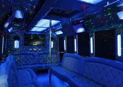 Limo Bus Blue Seats Blue Lights 2