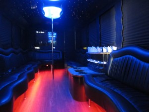 Red Limo Bus Rental Interior