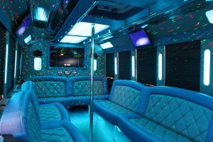 Limousine Party Bus Blue Interior Lights