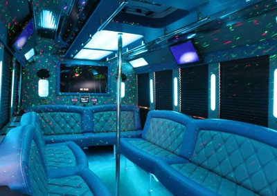 Limo Bus Blue Seats Blue Lights 1