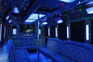 Blue interior Party Bus Houston