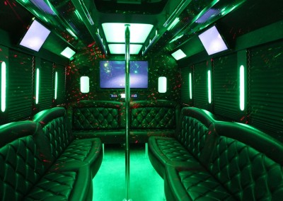 Limo Bus Red Seats Green Lights
