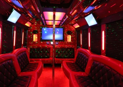Limo Bus Red Seats Red Lights