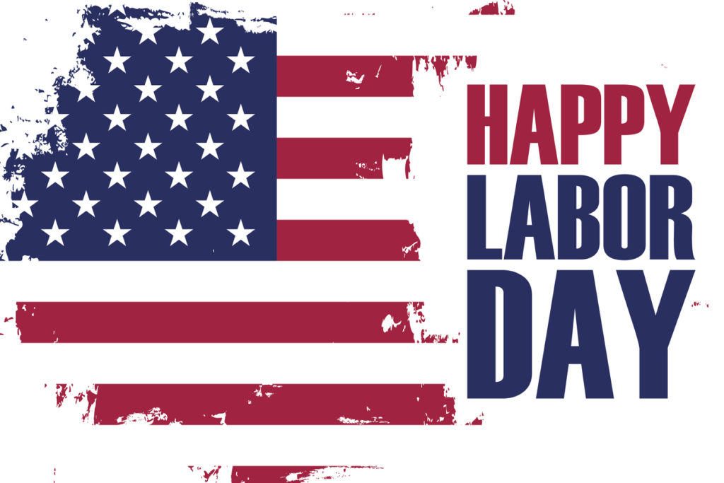 Happy Labor Day holiday banner with brush stroke background in United States national flag colors.